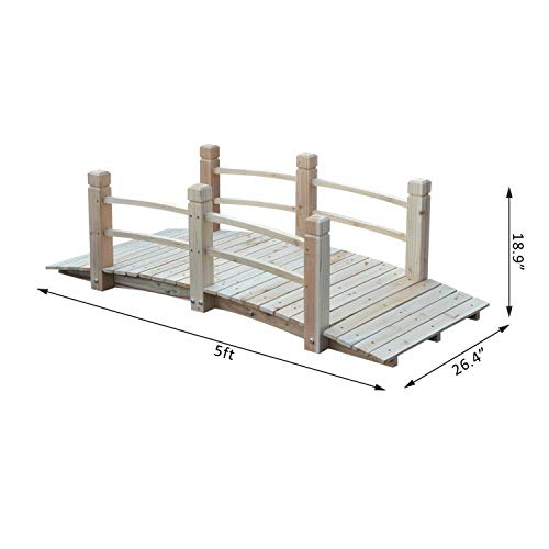 ANA Store Vintage Courtyard Curve Link 5' Ft Natural Solid Wood 400 lbs Platform Arch Bridge with Handy Rail Decor Walkway Path 60