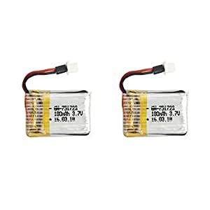 TechRC 2 PCS Drone Spare Parts Replacement 3.7v 180mAh Batteries with 1 USB Charger for MJX X902 Mini Quadcopter