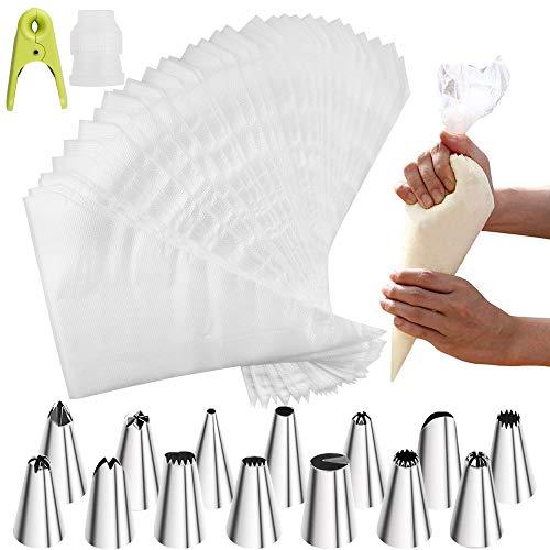 Chudian 200 stuks wegwerp spuitzakken 14 * RVS spuitmonden 1 * cakekoppeling 1 * clip gemaakt van plastic spuitzakken…