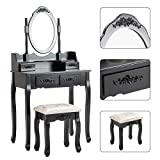 HONBAY Makeup Vanity Table Set and Cushioned Stool with Oval Mirror, 4 Drawers Dressing Table (Black)