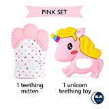 Teething Mitten + Teething Toy (Unicorn or Squirrel) Package, Teether Offering Soothing Relief for Babies, Infants and Toddlers. 100% Food Grade, BPA FREE Silicone. Great Pink Shower Gift!