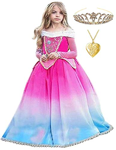 Princess Sleeping Beauty Aurora Party Costume Dress (5-6, Multicolor)