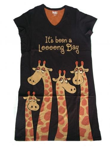 Lazy One Women's Long Day Giraffe V-Neck Nightshirt VNS046a