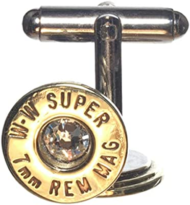 7mm Remington Magnum Polished Brass Cuff Links with