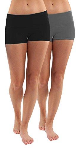 - iLoveSIA Women's Yoga Shorts Cotton Yoga Shorts Pack of 2 US Size S Black+Grey