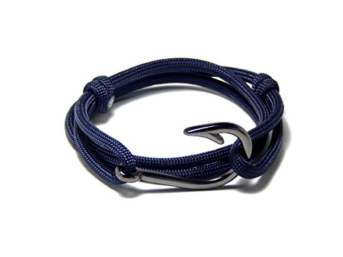 Men's Women's Nautical Fish Hook Bracelet Blue Gunmetal Tone Fish Hook Adjustable