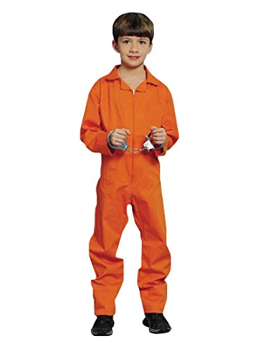 8 People Costumes (Orange Prisoner Jumpsuit Costume , (6-8yrs) , Hannibal , Convict, Halloween Kids)