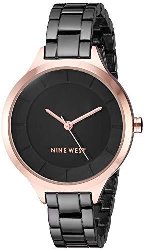 Nine West Women's NW/2225BKRT Rose Gold-Tone and Gunmetal Bracelet Watch