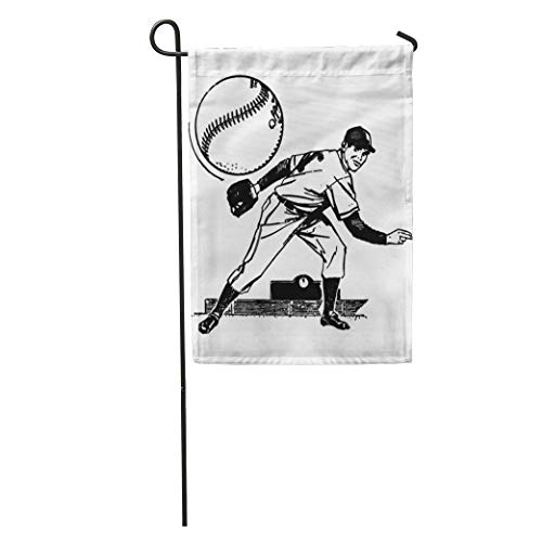Vintage Valentine Clipart - YhouqukehTshirt Garden Flag Vintage Baseball Pitcher Retro Clipart Clip 1950S 1940S People 50S Home Yard House Decor Barnner Outdoor Stand 12x18 Inches Flag