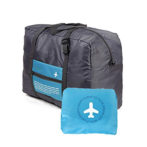 Super Lightweight Carry On - Foldable Travel Duffel Bag Super Lightweight Flight Carry on Storage Luggage Bag(Blue)