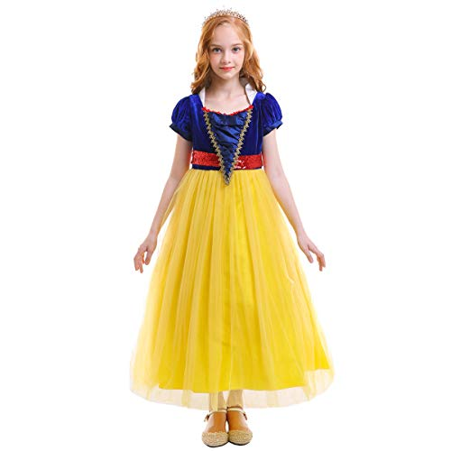 OwlFay Girls Princess Snow White Costume Dress Velvet Sequins Halloween Party Fancy Dress up Cosplay Cartoon Queen Transforming Dress Pageant Long Dresses Gown for Kids Birthday Yellow 8-9Y -