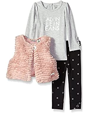 Baby Girls' 3 Piece Faux Fur Vest Set