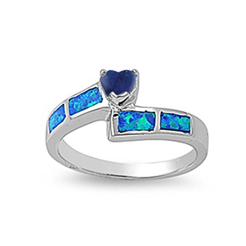 925 Sterling Silver Faceted Natural Genuine Blue Tanzanite Blue Simulated Opal Heart Promise Ring Size 8