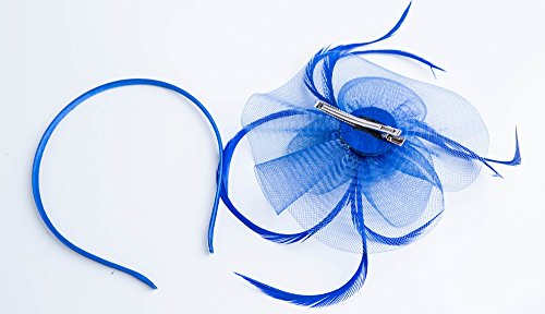 Kathyclassic Fascinator Hats for Women Feather Cocktail Party Hats Bridal Kentucky Derby Headband (Z-Royal Blue) by Kathyclassic (Image #4)