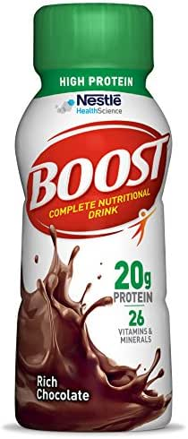 Boost High Protein Complete Nutritional Drink, Rich Chocolate, 8 fl oz Bottle, 12 Pack