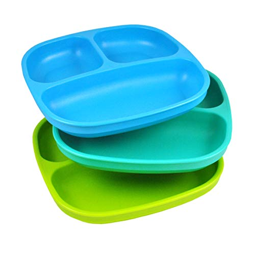 (Re-Play Made in USA 3pk Divided Plates with Deep Sides for Easy Baby, Toddler, Child Feeding - Sky Blue, Aqua & Green (Under The Sea))