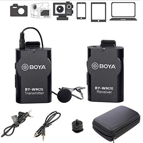 (BOYA BY-WM2G Wireless Lavalier Microphone System Compatible with iPhoneX 8 8 Plus 7 6 Smartphone,Canon 6D 600D Nikon D800 D3300 Sony A7 A9 DSLR GoPro Hero4 Hero3 Hero3+ Action Cameras)