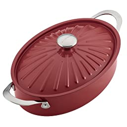 Rachael Ray Cucina Hard Porcelain Enamel Nonstick Covered Oval Sauteuse, 5-Quart, Cranberry Red