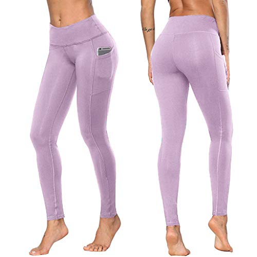 Women High Waist Out Pocket Yoga Pants - Beyonds Pure Tummy Control Workout Running 4 Way Stretch Yoga Leggings Tights, Weight Loss Slimming Pants Hot Thermo Sweat Leggings