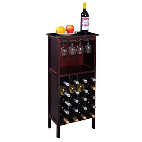 Eight24hours New Wood Wine Cabinet Bottle Holder Storage Kitchen Home Bar w/ Glass Rack - W4