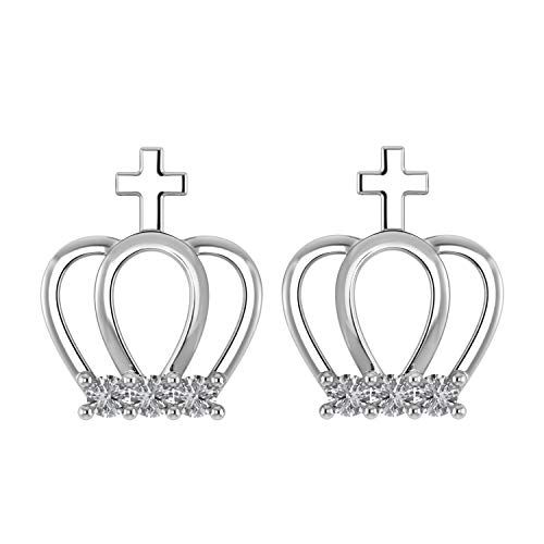 0.15 Ct Natural Diamond in 925 Sterling Silver Princess Crown Stud Earrings With Screw Back (G-H/I1-I2 (white-gold-plated-silver)