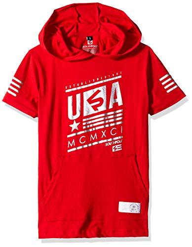 Southpole - Kids Boys' Big Stripe Short Sleeve Fashion Tee Shirt, red foil Hoody, Medium ()
