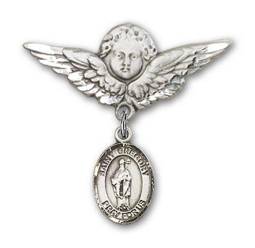 Icecarats Créatrice De Bijoux En Argent Sterling St. Grégoire Le Grand Ange De Charme Broche De Badge 1 1/8 X 1 1/8