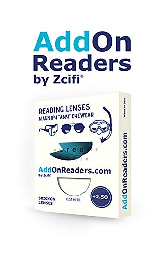 AddOnReaders Bifocal Stick-On Lenses | Instantly Magnify Any Eyewear Into Reading Glasses | Removable & Reusable | FREE Carry Case | Variety Of Powers | 1 Pair, 1.50 Magnification (Clear, 2.5)
