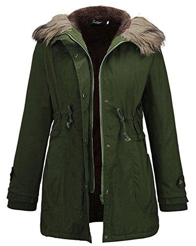 Casual Ejército Largo Mujer Del Verde Con Parka Cordón Cintura Chaquetas Abrigo De Encapuchado La 1Oqt1n