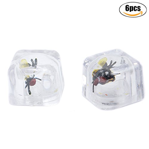 Joke Toy, Funpa 6Pcs Scary Toy Simulated Fly in the Ice Prank Tricky Toy for April Fools Day