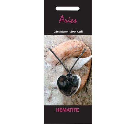 Amazon.com: CrystalAge Aries Birthstone Necklace - Hematite Heart: CrystalAge: Jewelry