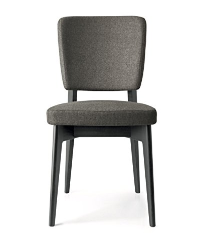 Connubia Escudo Upholstered Wooden Chair - Beech Graphite Frame - Berna Smoke Grey Seat Calligaris Dining Chairs