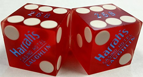 Pair of Used Red Matching Numbers Dice (2) Harrah's Laughlin - Laughlin Nv Casino