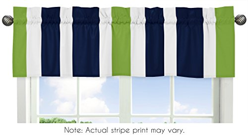 Sweet Jojo Designs Navy Blue White and Lime Green Window Treatment Valance for Stripes Bedding Collection ()