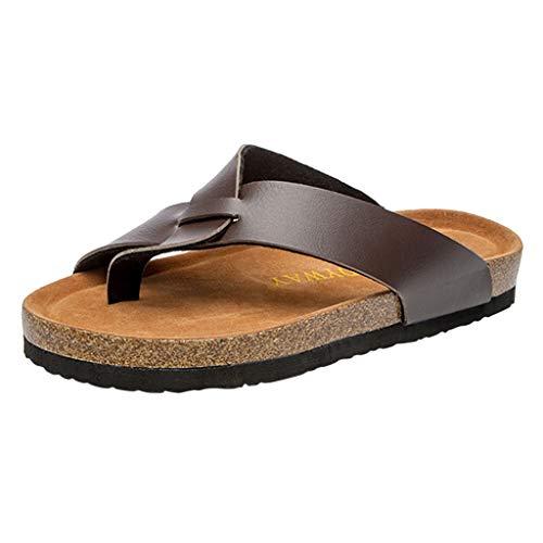 - JOYFEEL  Women's Clip Toe Crisscross Genuine Leather Slippers Cork Insole Low Flat Slip on Beach Sandals Flip Flops Brown