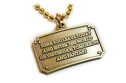 Brass Disney Ball - Disney Disneyland Entrance Plaque Fantasy Pendant Necklace with Ball Chain