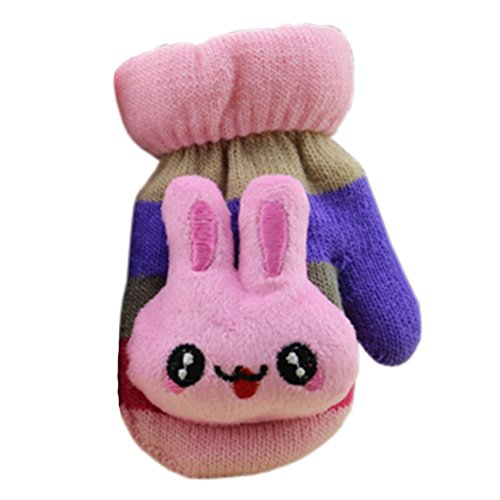 Wholesale 1 Pair Children's Winter Gloves Soft knitted&Warm Mittens (0-3 Years)Purple/Pink for cheap