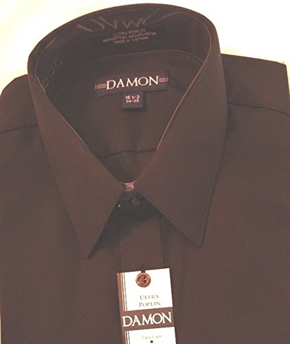 Damon Poplin Button Down Shirt (15 32-33, Black) ()