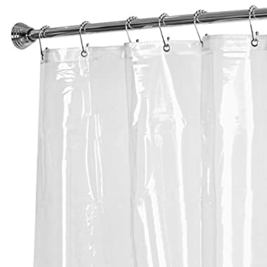 Maytex No More Mildew Super Heavy Weight Mildew Free Premium 10 Gauge Shower Liner or Curtain with Rust Proof Metal Grommets, Clear