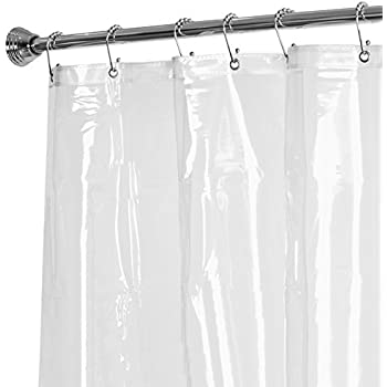 Maytex No More Mildew 10 Gauge Shower Curtain Liner with Rustproof Metal Grommets, Clear, 72 x 72