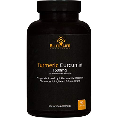 (Pure Turmeric Curcumin 1600mg with Bioperine 10mg and 95% Curcuminoids - Maximum Strength and Absorption - Best Turmeric Root Extract for Men and Women - Supports Heart and Joint Health - 90 Capsules)