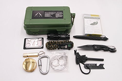 AP3X 11 in 1 Outdoor Survival Kit, Emergency Tools for Outdoor Adventures, Car Emergencies, Traveling, Camping & Hiking   SOS Tactical Preparedness Gear Box   Fits Into Glove Compartment & Backpacks by AP3X