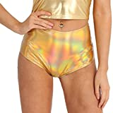 CHICTRY Women's Shiny Stretchy Patent Leather Wet Look Booty Shorts Dance Bottoms Gold Large