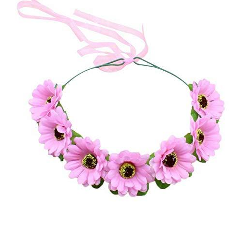 Korean Style Artificial Multi Layers Sunflower Headband Beach Travel Headpiece (Color - Pink)