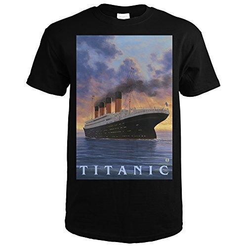Titanic - White Star Line (Black T-Shirt Large)