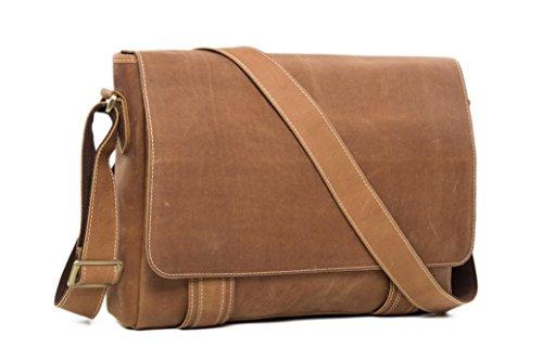 Handmade Vintage Genuine Leather Business Briefcase Men's Messenger Bag 14'' Laptop Bag by Jellybean Gorilla