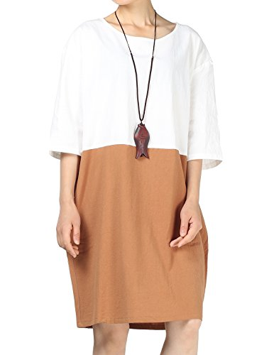 Mordenmiss Women's Color Block Round Neck T-Shirt Dress Half Sleeve Long Dress Khaki - Linen Long Pullover