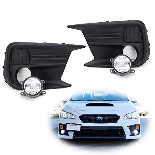 iJDMTOY Clear Lens LED Fog Light Kit For 2018-up Subaru WRX & STi, Includes (2) CREE XB-D Projector Foglamps, LH RH Fog Light Bezels & Wiring Harness