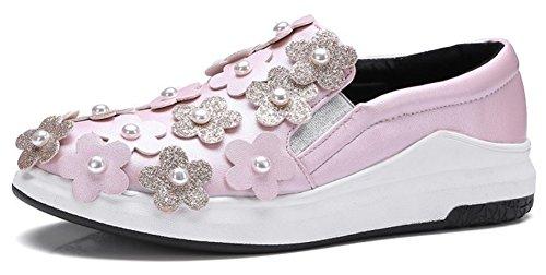 Mofri Women's Stylish Studded Flowers Elastic Round Toe Low Top Loafers Platform Slip on Sneakers Pink 9 B(M) US