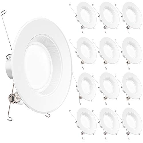 Sunco Lighting 12 Pack 5/6 Inch Baffle Recessed Retrofit Kit Dimmable LED Light, 13W (75W Replacement), 2700K Kelvin Soft White, Quick/Easy Can Install, 965 Lumen, Damp Rated